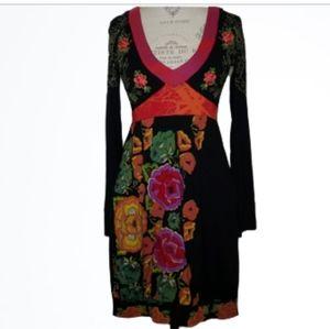 Desigual Embroidered Empire Waist Dress